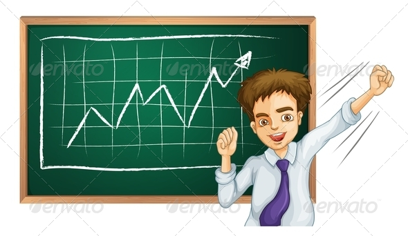GraphicRiver Happy businessman in front of board 7863590