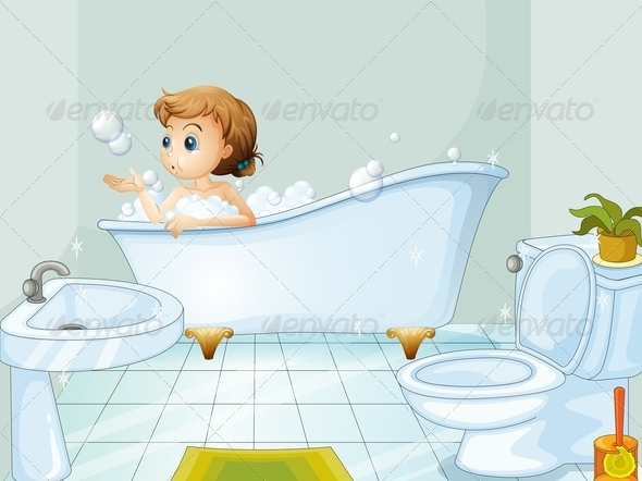 GraphicRiver Young woman taking a bath 7863594