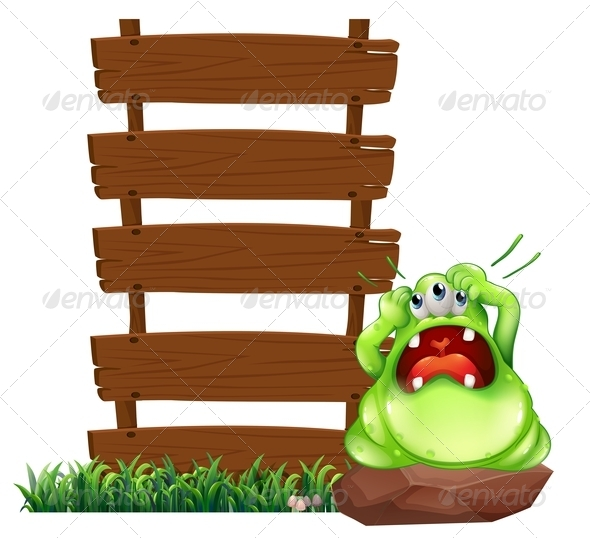 GraphicRiver Fat Monster Beside Empty Sign 7863686