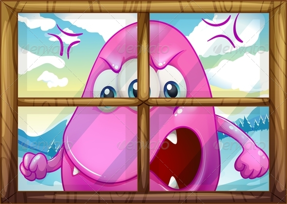 GraphicRiver Angry pink monster outside window 7863687
