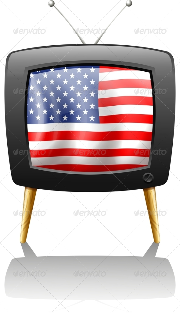 Television with USA Flag