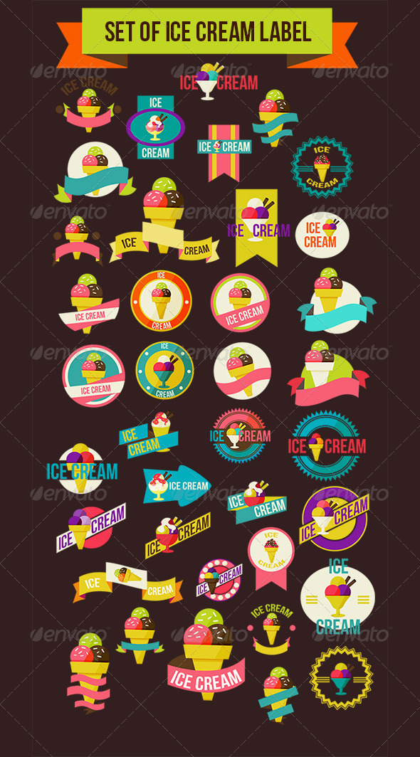 GraphicRiver Set Of Ice Cream Label 7856781