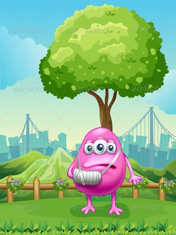 GraphicRiver Injured monster near tree 7863696