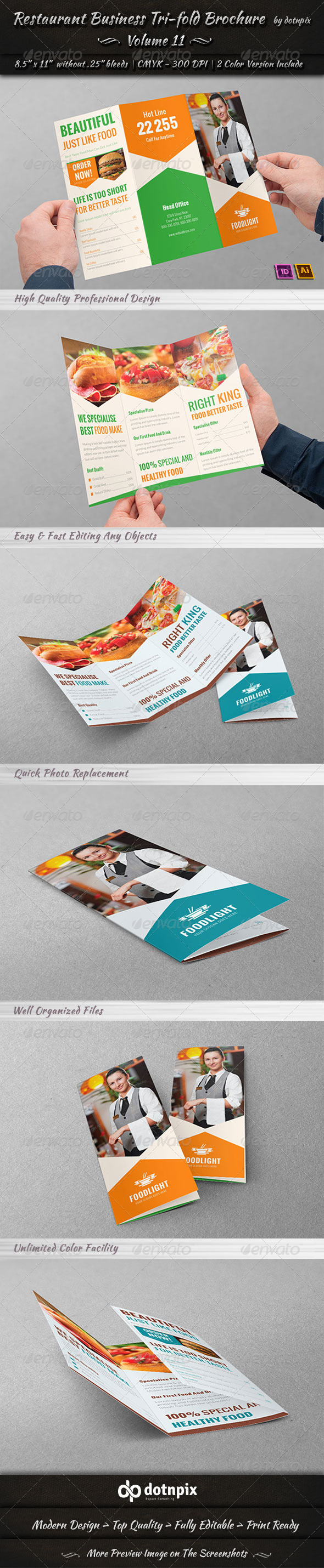 GraphicRiver Restaurant Business Tri-Fold Brochure Volume 11 7863703