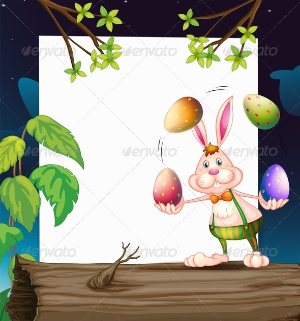 GraphicRiver Empty template with bunny juggling eggs 7863735