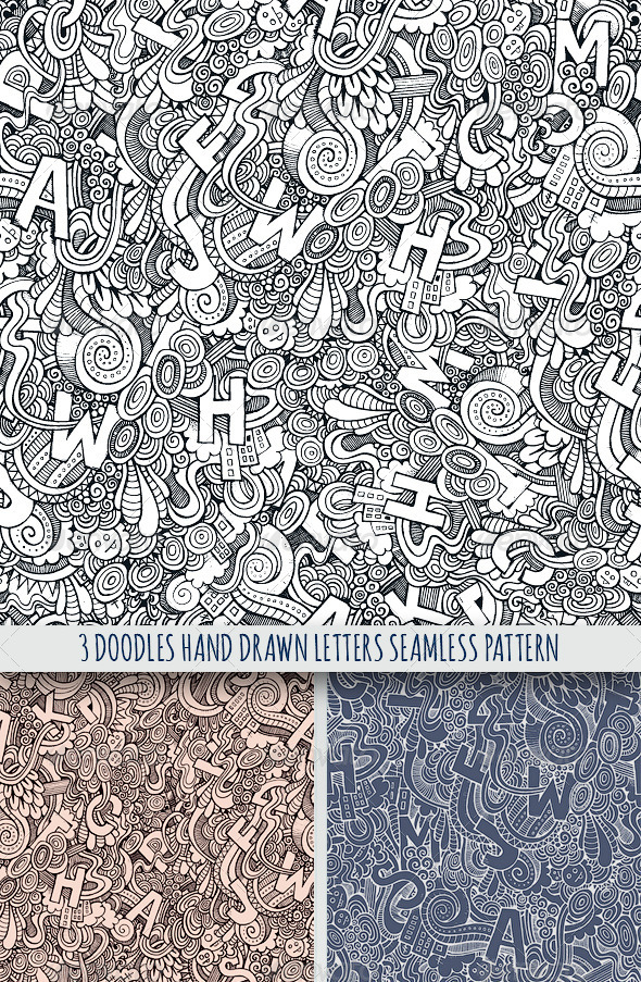 GraphicRiver 3 Doodles Letters Seamless Pattern 7863959
