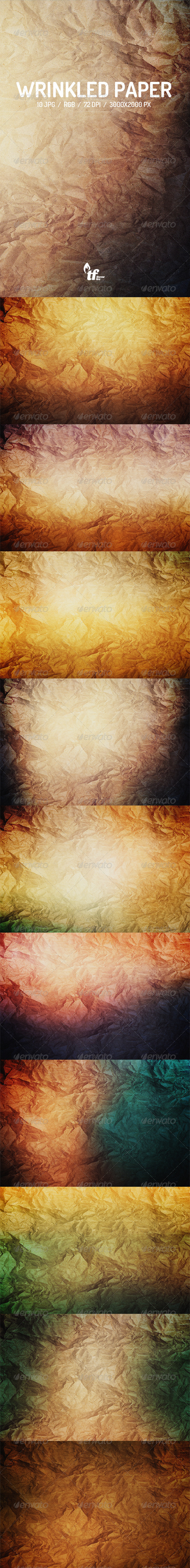 GraphicRiver Wrinkled Paper Backgrounds 7864185