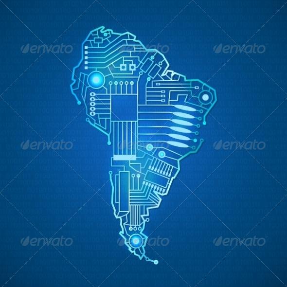 GraphicRiver Contour Mainland South America 7864508