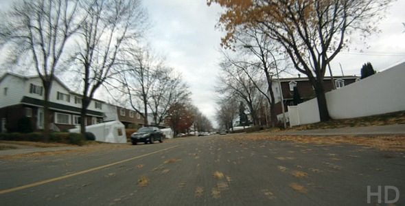 POV Driving Residential Streets In Autumn