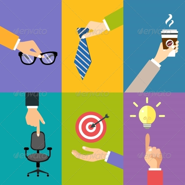 GraphicRiver Business Hands Icons 7864566