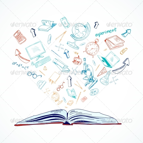 GraphicRiver Open Book Education Concept Doodle 7864626
