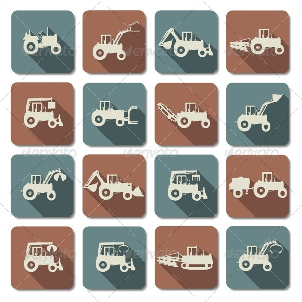 GraphicRiver Tractor Flat Icons 7864643