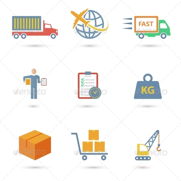 GraphicRiver Logistic Icons Flat 7864656