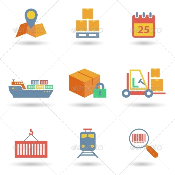 GraphicRiver Logistic Icons Flat 7864658