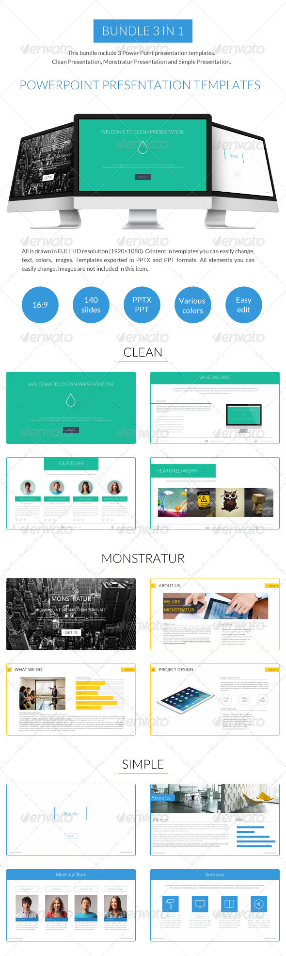 GraphicRiver Bundle 3 in 1 Power Point Presentation Templates 7849168