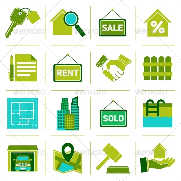GraphicRiver Real Estate Icons Green 7864713