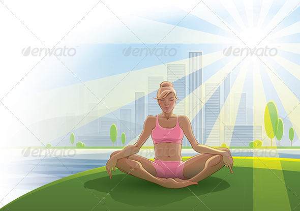 GraphicRiver Woman Practices Yoga Outdoors 7864716