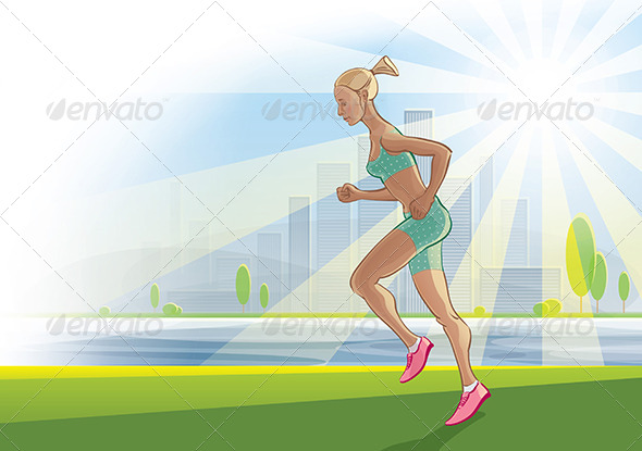 GraphicRiver Morning Run on an Urban Landscape 7864773