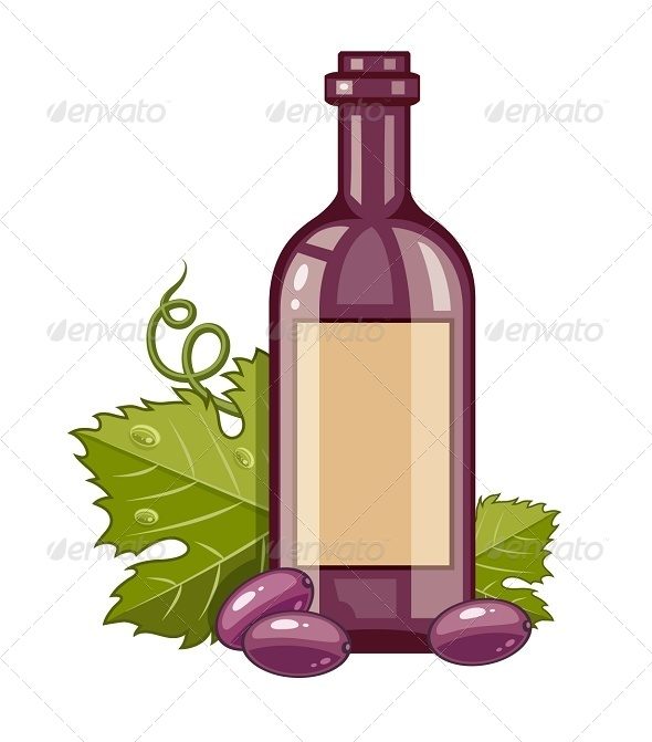 GraphicRiver Red Wine Bottle with Grapes and Green Leaf 7864860