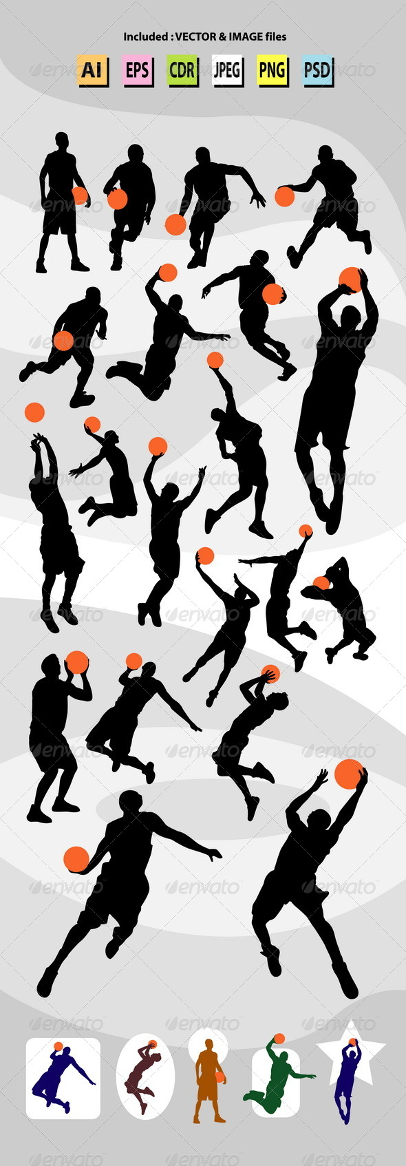 GraphicRiver Male Basketball Silhouettes 7864951