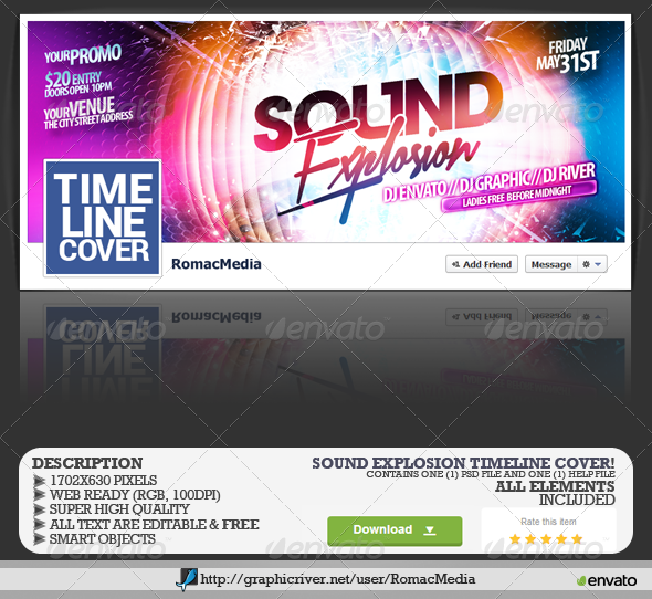 GraphicRiver Sound Explosion Facebook Timeline Cover 7865022