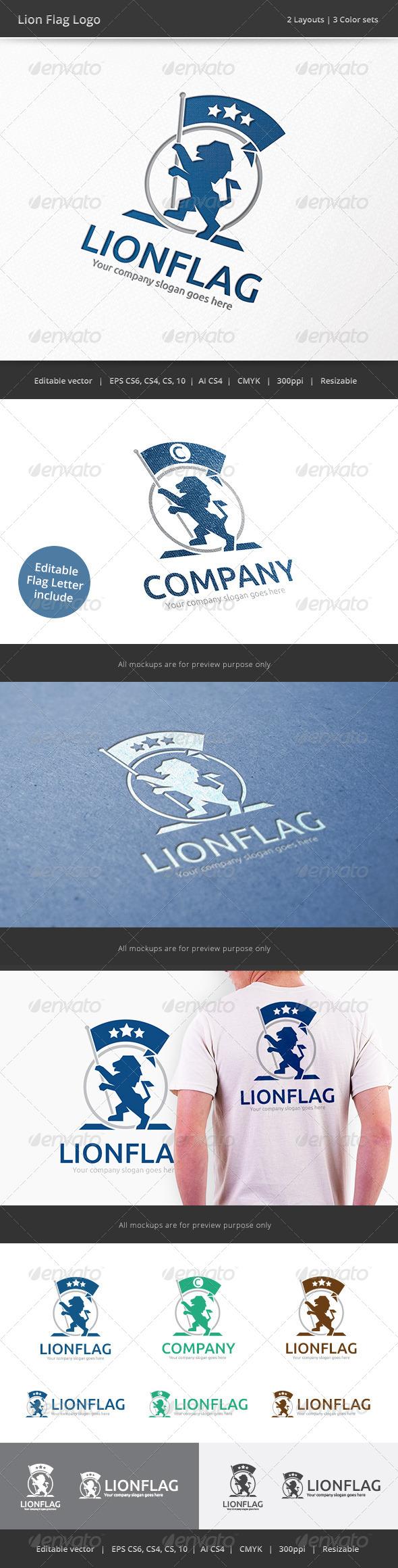 Lion Flag Crest Logo