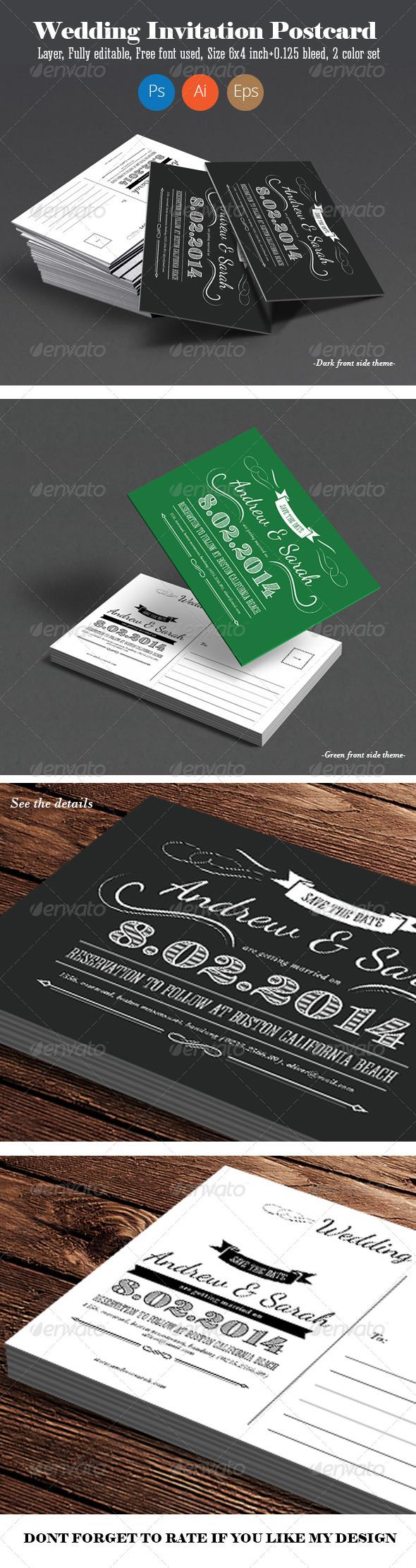 GraphicRiver Vintage Wedding Invitation Post Card 7865324