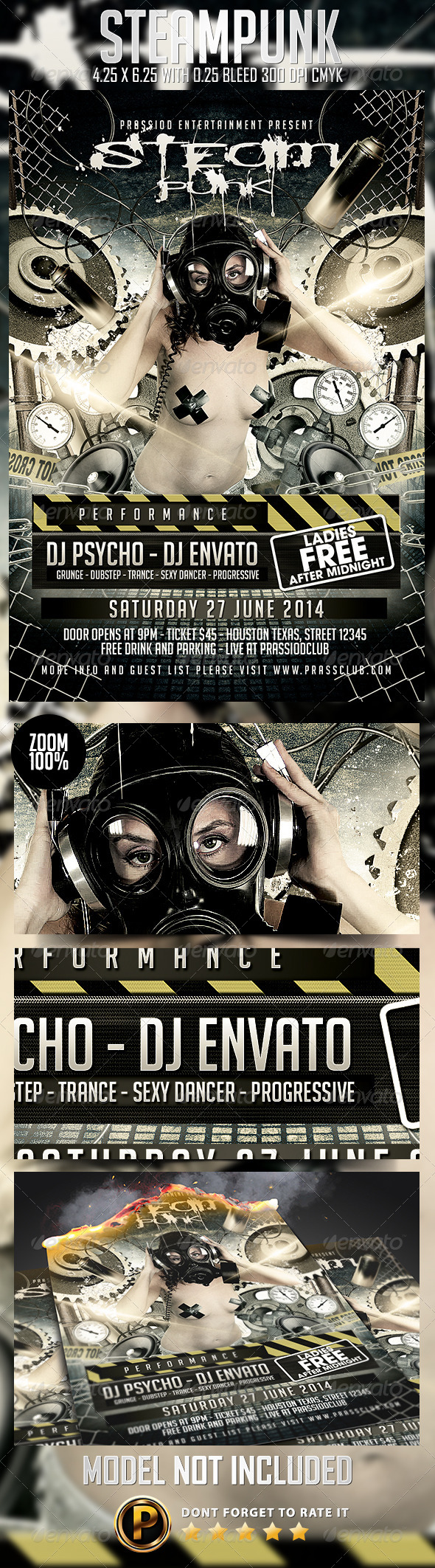 Steampunk Flyer Template - Clubs & Parties Events