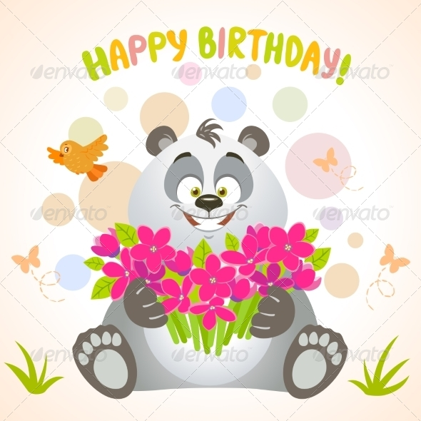 GraphicRiver Panda Happy Birthday 7865386