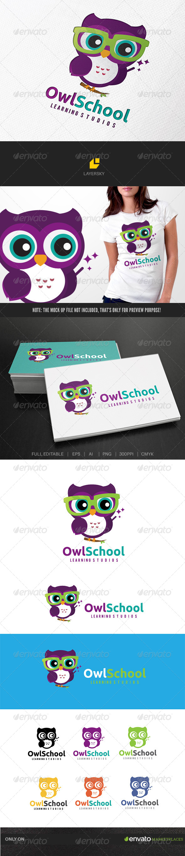Owl School - Animals Logo Templates