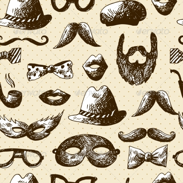 GraphicRiver Hand Drawn Hipster Seamless Background 7865431