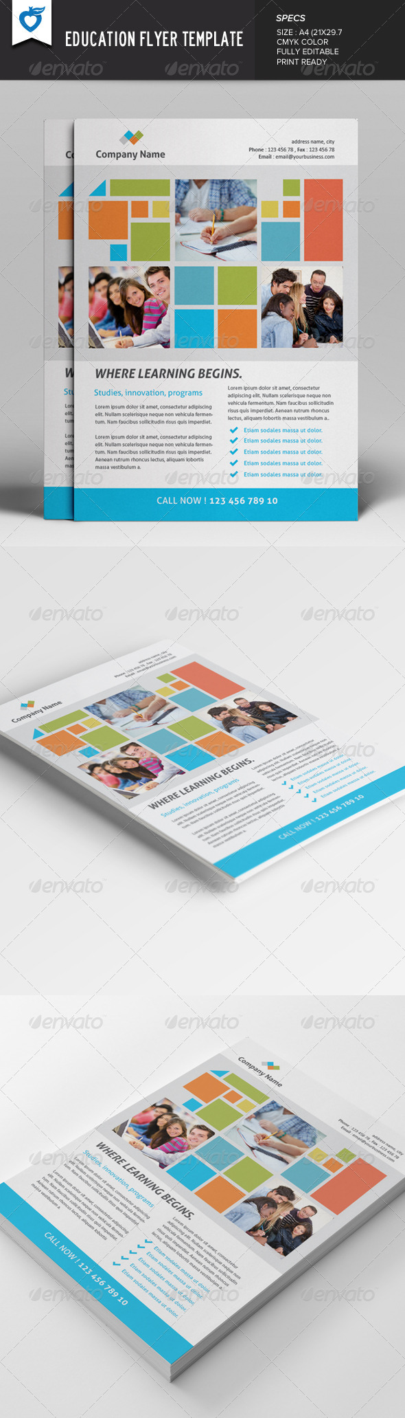 GraphicRiver Education Flyer Template 7849190