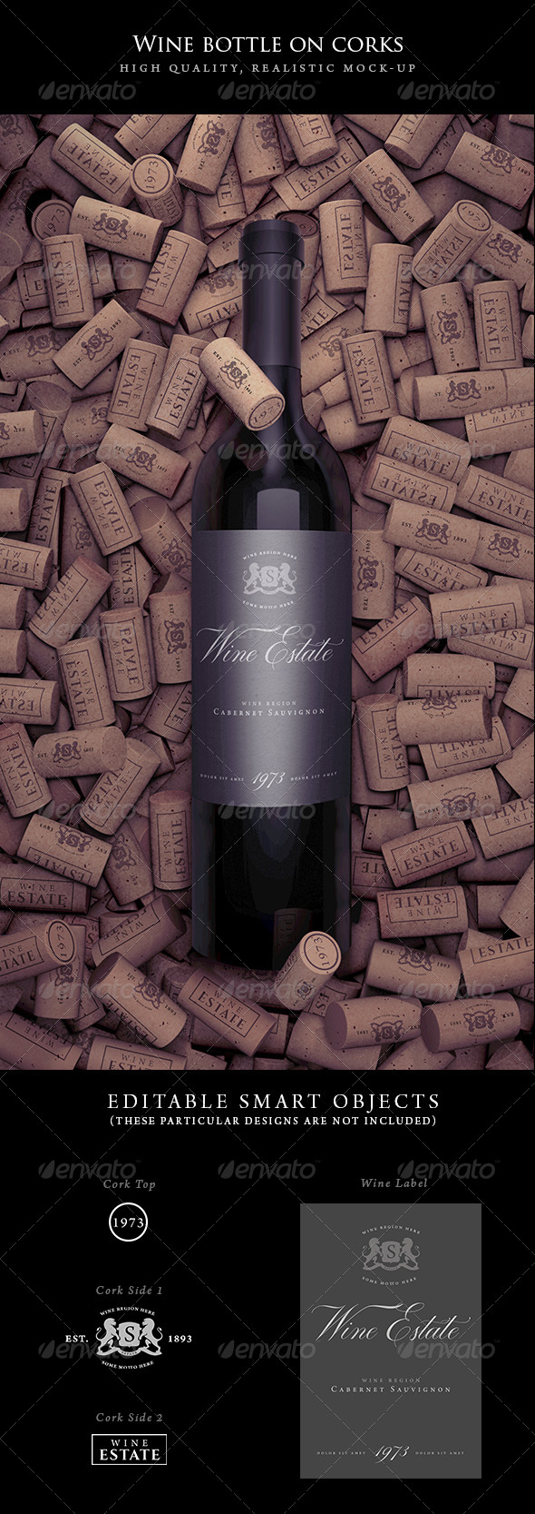 GraphicRiver Wine Bottle on Corks Mock-Up 7866895