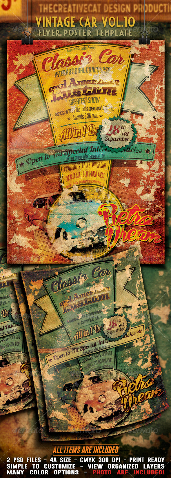 Vintage Car Flyer Poster Vol 10