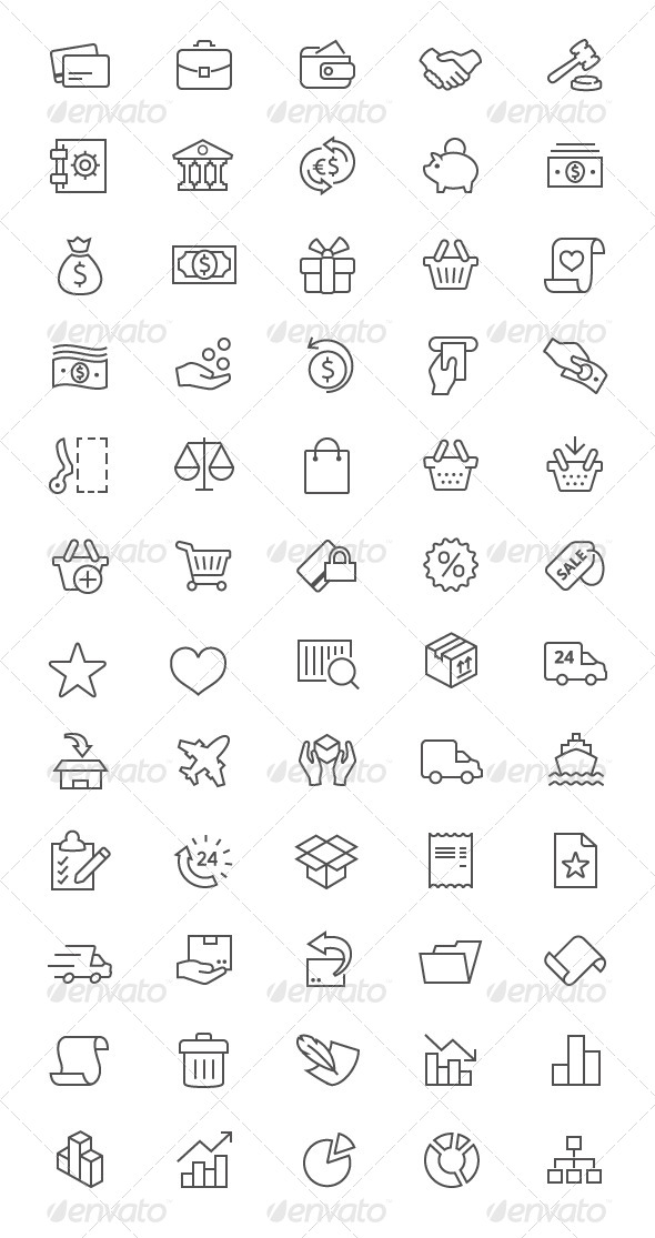 GraphicRiver Outline Business and E-commerse Icons 7867412