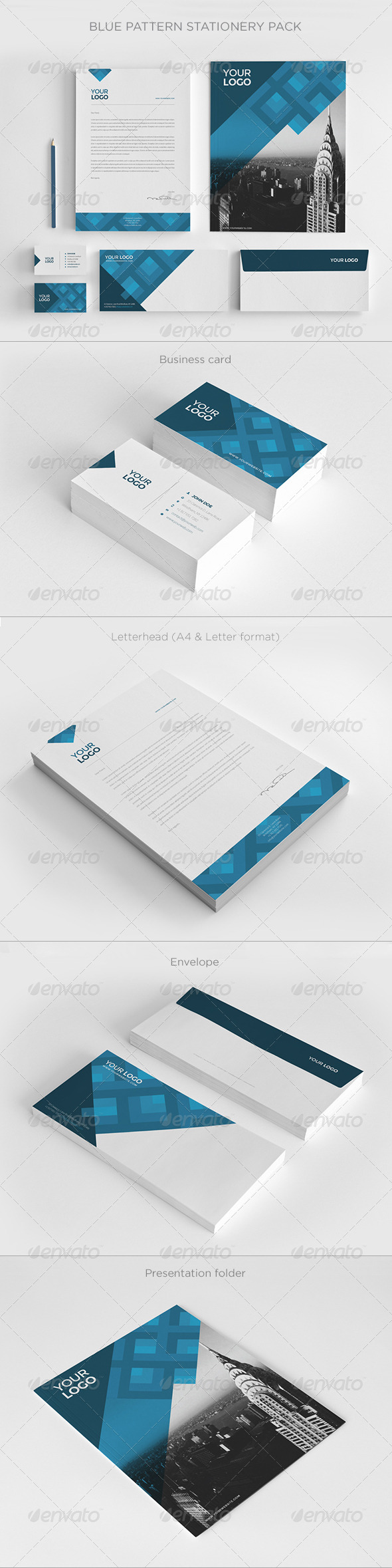 GraphicRiver Blue Pattern Stationery Pack 7867560