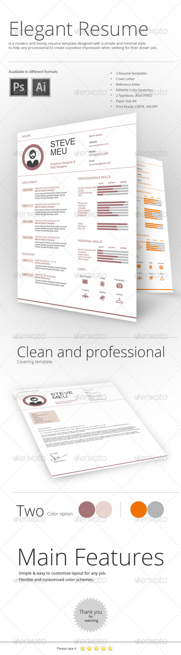 GraphicRiver Eye Catching Resume Templates 7867748