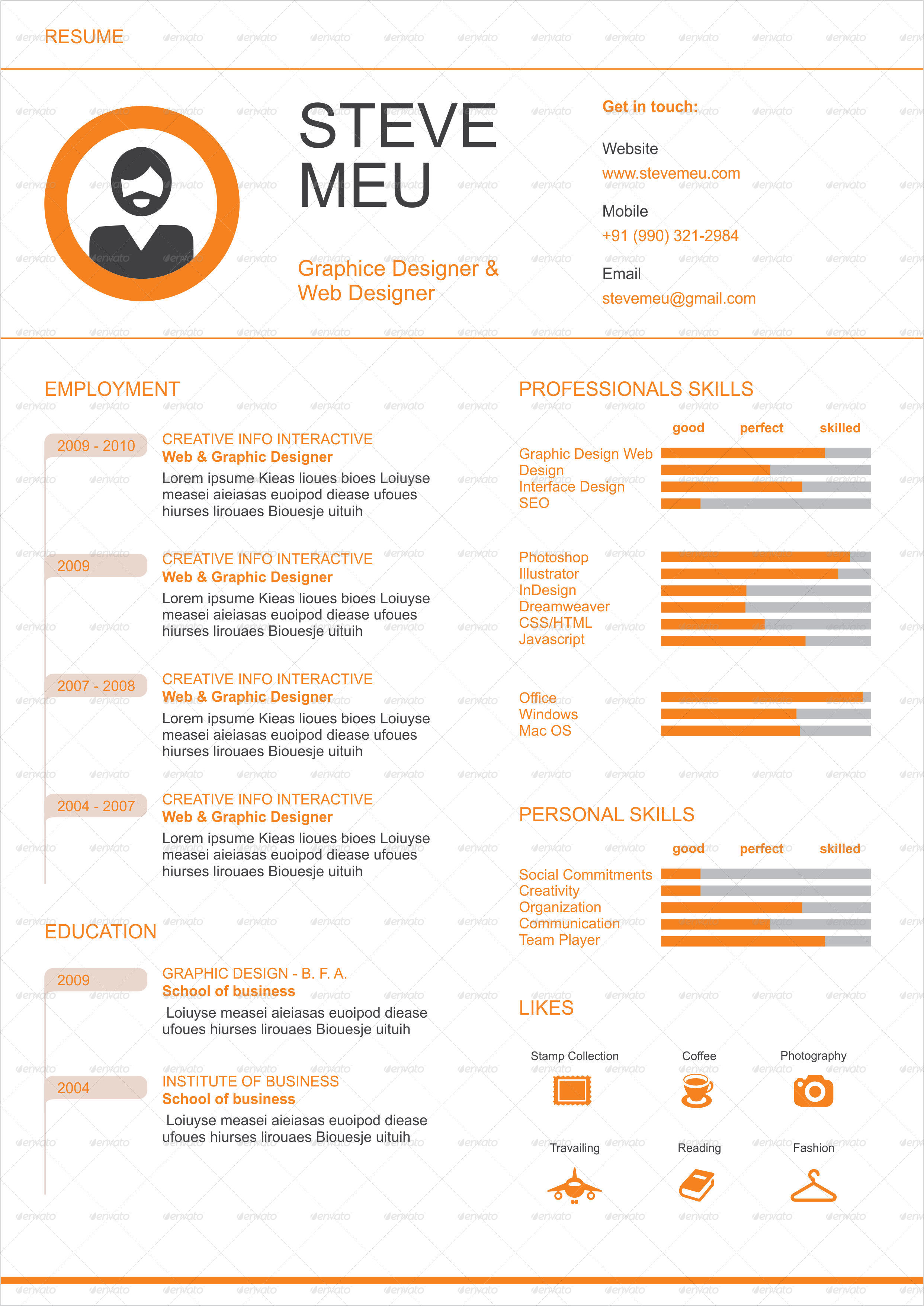 eye catching resume templates by creatwitter eye catching resume templates resumes stationery preview covering letter orange