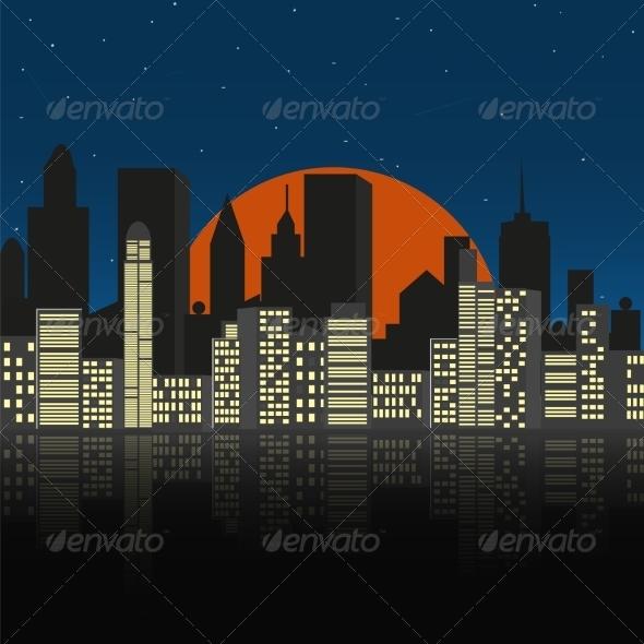GraphicRiver Cityscape at Night 7867769