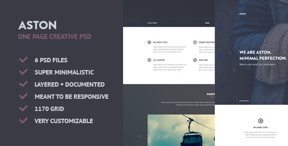 ASTON - Minimalistic Creative One Page PSD