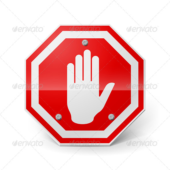 GraphicRiver Red Metal Stop Sign 7869213