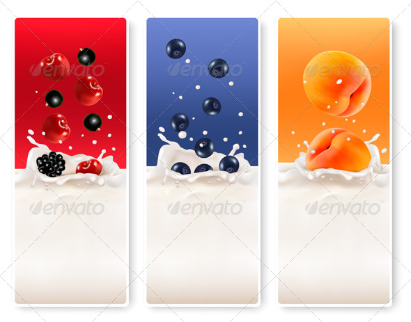 GraphicRiver Three Fruit and Milk Labels 7869259