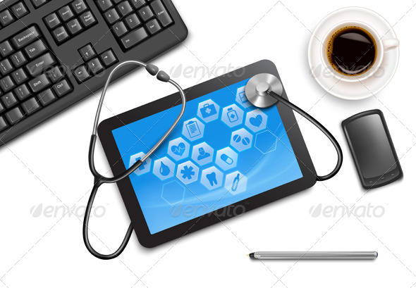 GraphicRiver Tablet Screen with Medical Icons and Stethoscope 7869263