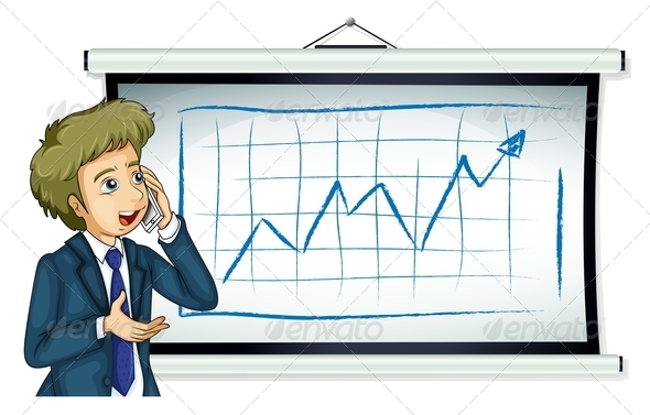 GraphicRiver Businessman in front of chart with phone 7869697