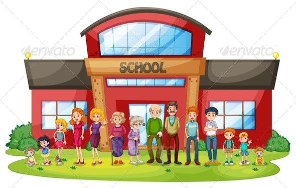Big family in front of school building