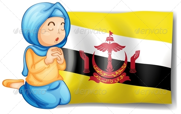 Lady near the flag of Brunei