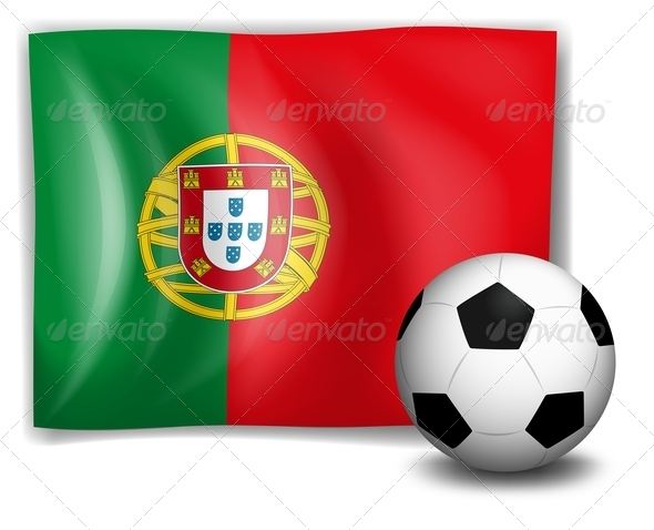 Soccer ball in front of Portugal flag