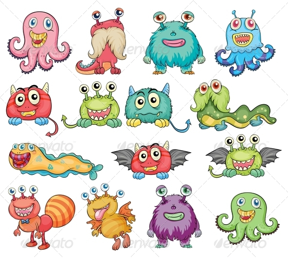 GraphicRiver Cute and colorful monsters 7869778