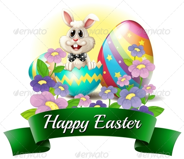 GraphicRiver Bunny with Happy Easter Label 7869780