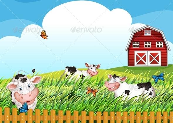 GraphicRiver Cows on the Farm 7869796